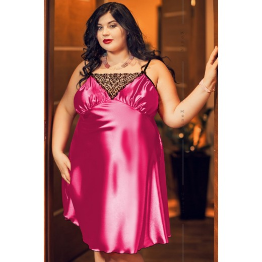 plus size-028  Isla  Satin and Lace Chemise Hot Pink  S-6XL Chemises-Nine X