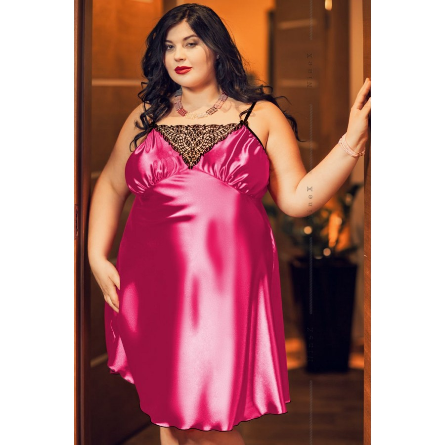 26fad30ed842 028  Isla  Satin and Lace Chemise Hot Pink S-6XL