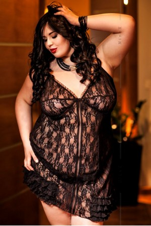 025 'Lexy' Stretch Lace Black Babydoll  S-6XL