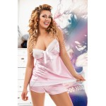 plus size-049 Light Pink satin Cami and Shorts  S-6XL Cami Sets-Nine X