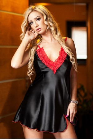 037 'Maidie' Hot  Satin and Lace Babydoll Black e   S-6XL
