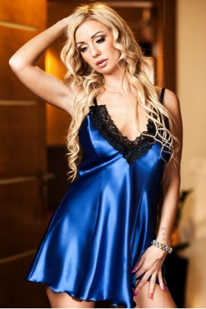 037 'Maidie' Blue Satin Chemise With Plunge Lace Bust  S-6XL