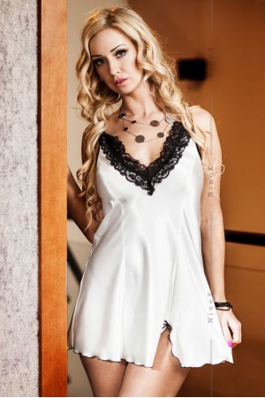 037 'Maidie' White Satin Chemise With Plunge Lace Bust  S-6XL
