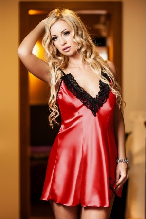 037 'Maidie' Red' Satin Chemise With Plunge Lace Bust  S-6XL