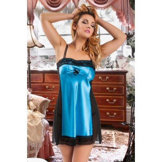 plus size-043 Mira  Classic Turquoise Satin Babydoll S-6XL Babydolls-Nine X