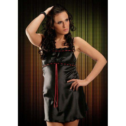 plus size-2011 Sexy Black Satin Chemise With Lace Bust S - 6XL Clearance-Nine X