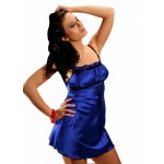 plus size-2011 Sexy Blue Satin Chemise With Lace Bust S-6XL Clearance-Nine X
