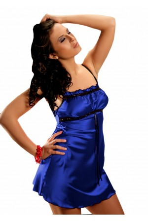 2011 Sexy Blue Satin Chemise With Lace Bust S-6XL