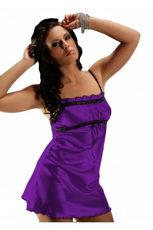 2011 Sexy Purple Satin Chemise With Lace Bust S-6XL