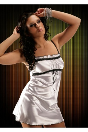 2011 Sexy White Satin Chemise With Lace Bust S-6XL
