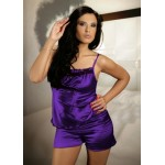 plus size-008 Satin Cami Set Purple S - 6XL Cami Sets-Nine X