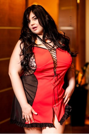 018 'Sorcha' Black and Red Lace up Babydoll S-6XL